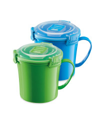 Sistema 2 Pack Soup Mugs - Blue/Green