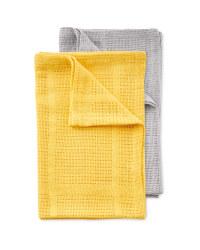 Small 2 Pack Cellular Blankets - Grey/Ochre