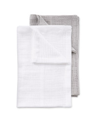 Small 2 Pack Cellular Blankets - Grey/White