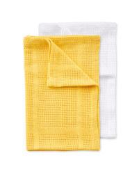Small 2 Pack Cellular Blankets - White/Ochre