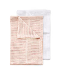 Small 2 Pack Cellular Blankets - White/Pink