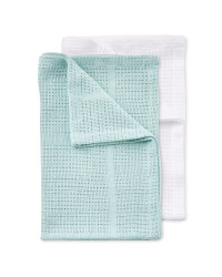 Small 2 Pack Cellular Blankets - White/Teal