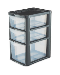 Small 3 Drawer Tower - Grey