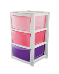 Premier Small Ombre 3 Drawer Tower - Pink/ Purple