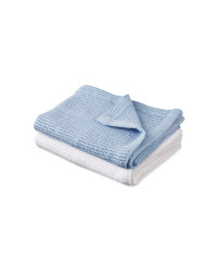 Small Cellular Blanket 2 Pack - Blue/White