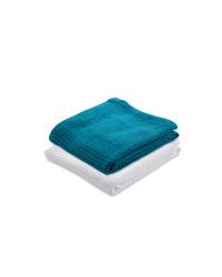 Small Cellular Blanket 2 Pack - White/Teal