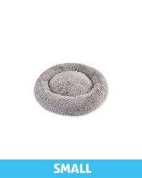 Small Comfy Long Pile Pet Bed - Grey