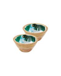 Small Floral Mango Wood Bowls 2 Pack