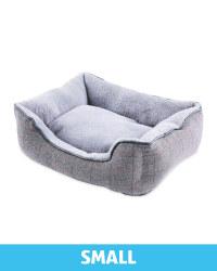 Small Grey Check Plush Dog Bed