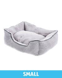 Small Grey Herringbone Plush Dog Bed