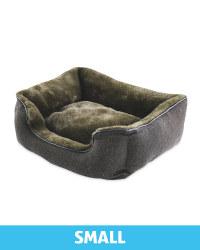 Small Khaki Herringbone Dog Bed