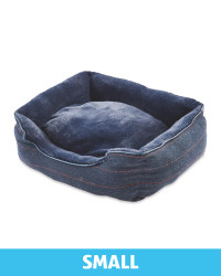 Small Navy Check Plush Dog Bed