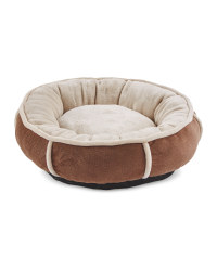 Small Plush Doughnut Pet Bed - Brown