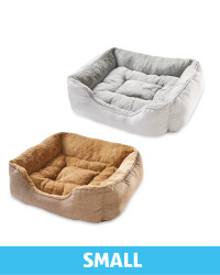 Small Plush Pet Bed Herringbone