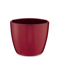 Small Shiny Ceramic Pots 15cm - Wine-Red