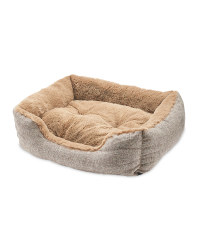 Small Tan Plush Pet Bed