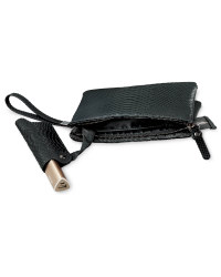 Snake Skin Clutch Bag - Black