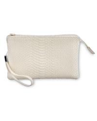 Snake Skin Clutch Bag - Nude
