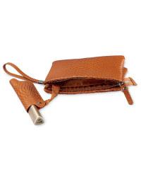Snake Skin Clutch Bag - Tan