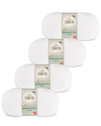 So Crafty Double Yarn 4-Pack - White