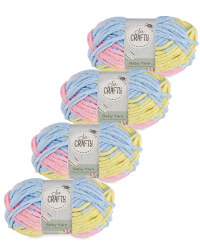 So Crafty Stripe Baby Yarn 4-Pack - Yellow/Pink/Blue