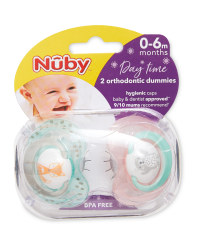 Nuby Animal Day Soothers 0-6 Months