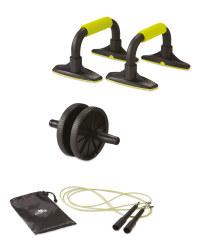 Speed Rope, Ab Wheel & Push Up Bars