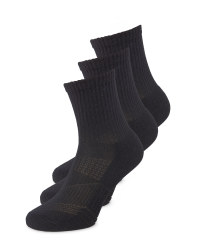 Sports Crew Socks 3 Pack - Black