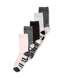 Spots/Stripes Ladies 5-Pack Socks