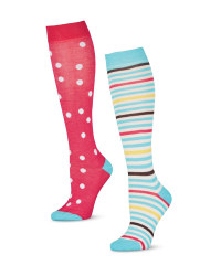 Spotty Print Knee High Riding Socks