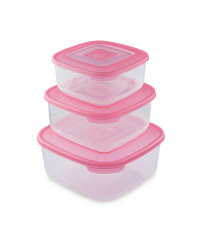 Square Food Storage Containers - Magenta
