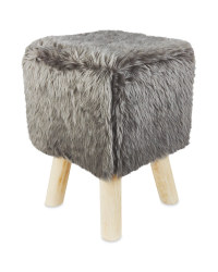 Square Grey Short Faux Fur Stool