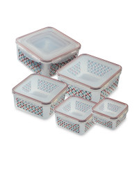 Square Patterned Clip-Lid Containers