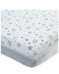 Star Design Fitted Cot Sheet 2 Pack