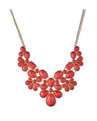 Statement Jewelled Coral Necklace