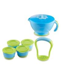 Nuby Steam n' Mash & Freezer Pots - Blue/Green