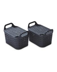 Strata Lidded Baskets 2 Pack - Charcoal