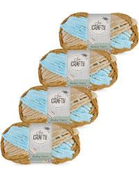 So Crafty Stripe Baby Yarn 4-Pack - Blue/Cream/Brown