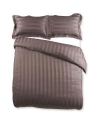 Striped Double Sateen Duvet Set - Charcoal
