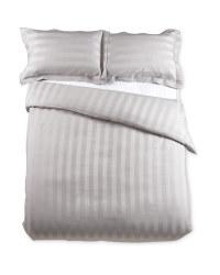 Striped Double Sateen Duvet Set - Grey