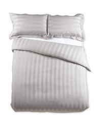 Striped King Sateen Duvet Set - Grey