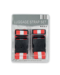 Striped Luggage Strap - Red