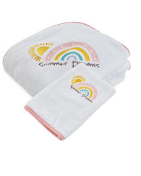 Summer Hooded Baby Towel And Mitt