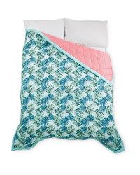 Kirkton House Palm Bed Spread - Green/Pink
