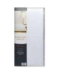 Super King 400TC Sateen Fitted Sheet - White