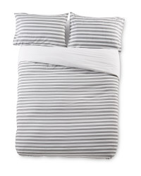Superking Charcoal Stripe Duvet Set