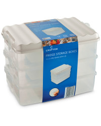 Tall Fridge Storage Boxes (3 Pack) - Pearl White