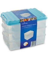 Tall Fridge Storage Boxes (3 Pack) - Turquoise