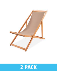 Taupe Wooden Deck Chair 2 Pack