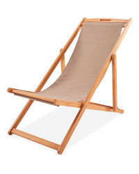 Taupe Wooden Deck Chair
